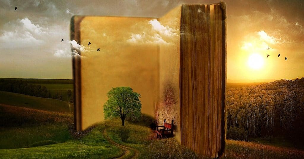 Spiritual books on a field