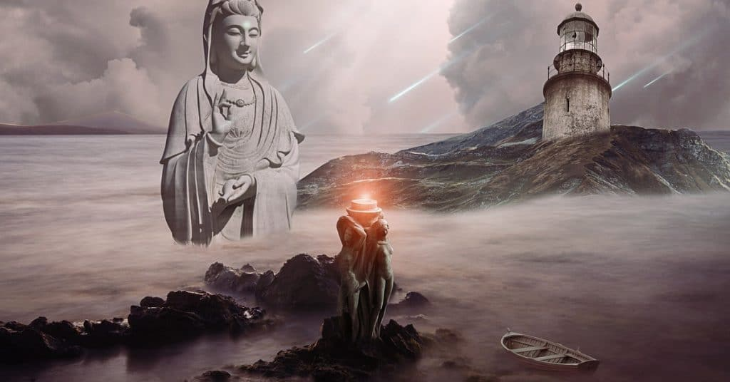 Lighthouse and spiritual figure giving spiritual guidance to a boat