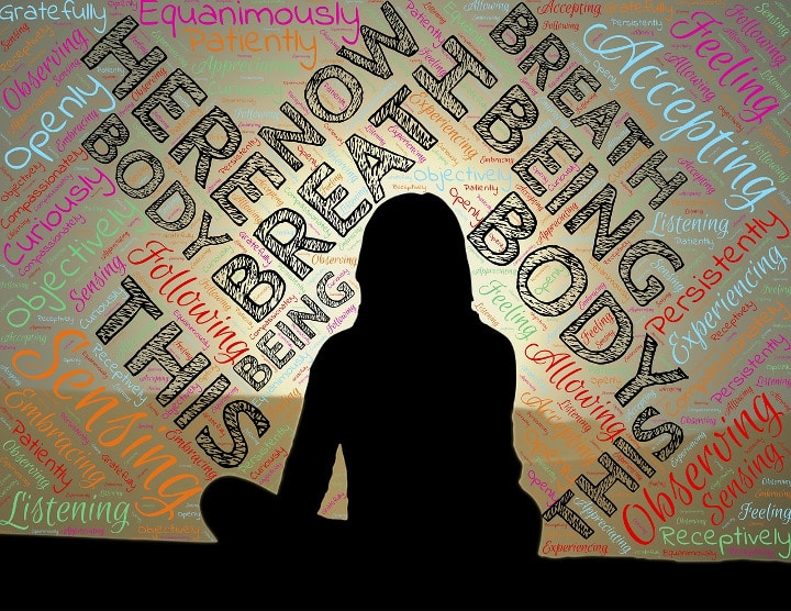 outline of woman being mindful surrounded by affirmations