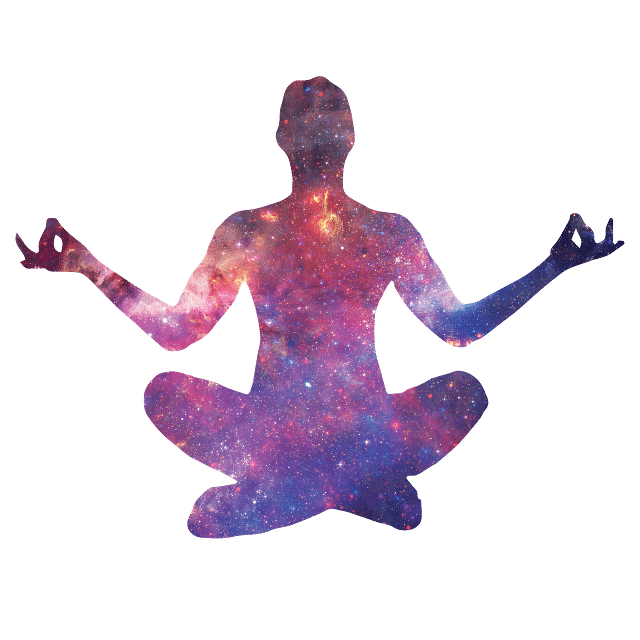 outline of a person meditating with the universe inside of their body