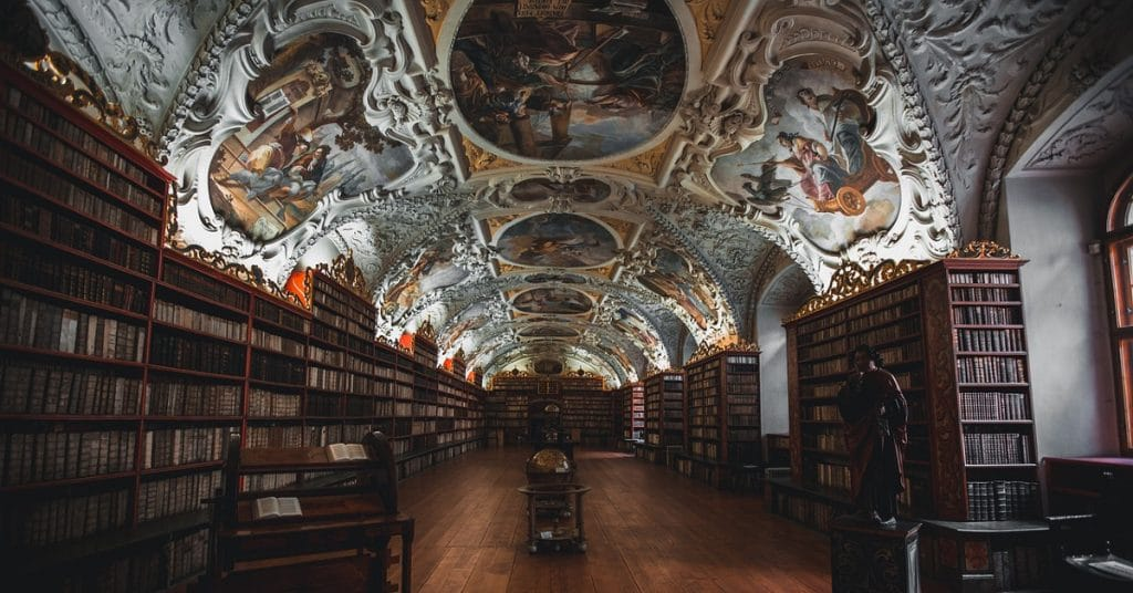 akashic records reading library with paintings on ceiling